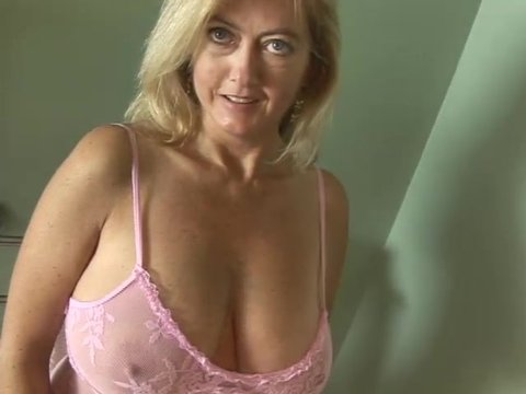 POV blonde bathroom woman